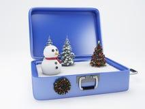 Valigia di viaggio vacanza di inverno, concetto di feste Immagini Stock Libere da Diritti