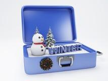Valigia di viaggio vacanza di inverno, concetto di feste Immagine Stock Libera da Diritti