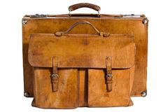 Valigia e cartella Well-Traveled dell'annata Fotografie Stock