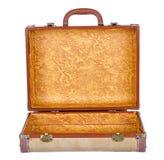 Valigia o bagagli dell'annata aperti, isolato Fotografia Stock Libera da Diritti