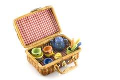 Valigia per il picnic Fotografia Stock