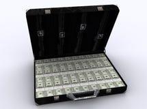Valigia in pieno dei dollari Fotografie Stock Libere da Diritti