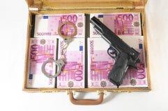 Valigia in pieno delle banconote Fotografie Stock Libere da Diritti