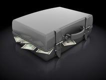 Valigia in pieno di soldi Fotografia Stock Libera da Diritti