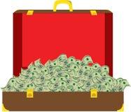 Valigia in pieno di soldi Immagini Stock Libere da Diritti