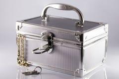 Valigia-scatola argentea Fotografia Stock Libera da Diritti