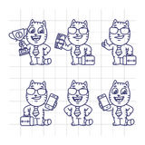 Valigia stabilita della tazza di Cat Character Businessman Holding Money di schizzo Immagine Stock