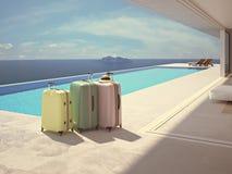 Valigie di Coloful accanto alla piscina rappresentazione 3d Fotografia Stock