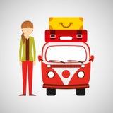 Valigie di hairstyle vintage van camper della coda della ragazza royalty illustrazione gratis