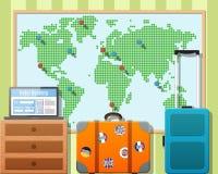 Valigie di viaggio con gli autoadesivi e la mappa di mondo Fotografia Stock Libera da Diritti