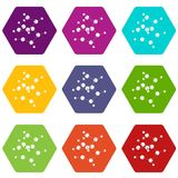 Valine icons set 9 vector. Valine icons 9 set coloful isolated on white for web Royalty Free Stock Image