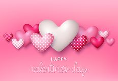 Valintine`s Day greeting card. Vector illustration. Valintine`s Day greeting card with 3d hearts on pink background. Vector illustration Royalty Free Stock Images