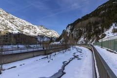 Valira river througt town of Canillo village. Andorra. Stock Photography
