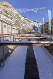 Valira river througt town square of Canillo village. Andorra. Valira river througt town square of Canillo village. Principality of Andorra Royalty Free Stock Photo