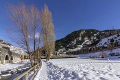 Valira riverside hiking trail througt Canillo village. Andorra. Valira riverside hiking trail througt Canillo village. Principality of Andorra Royalty Free Stock Photos