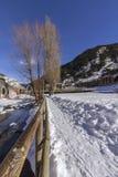 Valira riverside hiking trail througt Canillo village. Andorra. Valira riverside hiking trail througt Canillo village. Principality of Andorra Royalty Free Stock Image