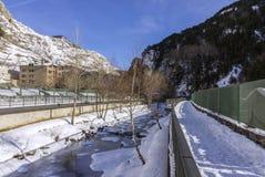 Valira riverside hiking trail througt Canillo village. Andorra. Valira riverside hiking trail througt Canillo village. Principality of Andorra Royalty Free Stock Photo