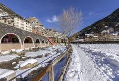 Valira riverside hiking trail througt Canillo village. Andorra. Valira riverside hiking trail througt Canillo village. Principality of Andorra Stock Photo