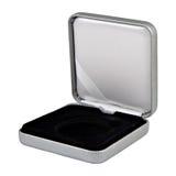 Valise argentée en cuir ouverte élégante Image stock