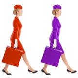 Valise avec du charme d'In Uniform With d'hôtesse. Variantes de couleur Photographie stock libre de droits