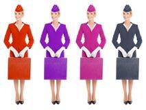 Valise avec du charme d'In Uniform With d'hôtesse. Variantes de couleur Image libre de droits