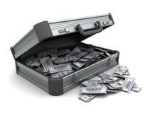 Valise avec l'argent Photographie stock libre de droits