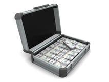 Valise avec l'argent Image stock