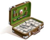 Valise avec l'argent Photos libres de droits