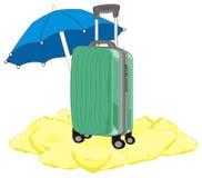 Valise avec le parapluie Photos stock