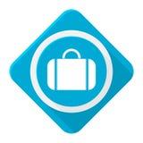 Valise azul del icono con la sombra larga Imagen de archivo libre de regalías