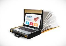 Valise d'affaires - concept de finances - ordinateur portable et site Web de lbusinessman photographie stock libre de droits