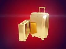 Valise d'or rendu 3d Images libres de droits