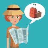 Valise de chapeau de carte de cheveux courts de femme Photo stock