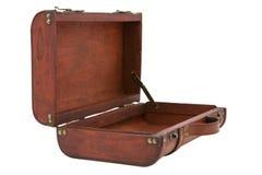 Valise en bois de vintage ouverte sur le fond blanc Image libre de droits