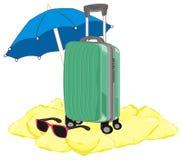 Valise et deux symboles d'été Image stock