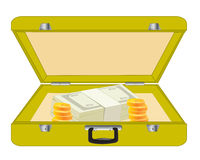 Valise with money Royalty Free Stock Image