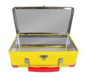 Valise ouverte en métal jaune Photographie stock libre de droits