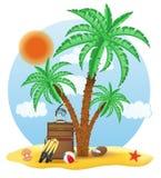 Valise se tenant sous une illustration de vecteur de palmier Image stock