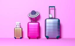 Valise trois avec le chapeau du soleil, l'eBook et le jouet mou sur le fond rose en pastel concept de course illustration de vecteur