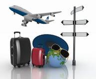 valises 3d, avion, globe et parapluie Concept de voyage et de vacances Images libres de droits