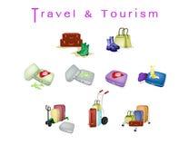 Valises de voyage avec les bagages et le sac du voyageur Illustration Stock