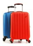 Valises de voyage sur le fond blanc Image libre de droits
