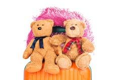 Valises et ours de nounours brun Image stock