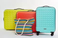 Valises sur des roues, sac à main de coton Photo libre de droits
