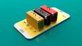 Valises sur un smartphone illustration 3D Photos libres de droits