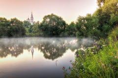 Valishchevo By i det Podolsky området av Moskvaregionen, Ryssland 1507 1533 antagande byggde domkyrkaår Soluppgång och sikt på de royaltyfria foton