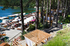 Valiug. Lake and pontoon,place for relaxation and rest from resort with same name,Caras-Severin county,Romania Stock Image