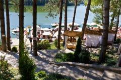 Valiug resort. Lake and pontoon from Valiug resort,Caras-Severin county,Romania Royalty Free Stock Image
