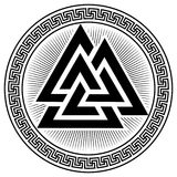 Valknut ancient pagan Nordic Germanic symbol. Isolated on white, vector illustration Stock Photography