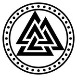 Valknut ancient pagan Nordic Germanic symbol. Isolated on white, vector illustration Stock Photos